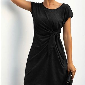 Faux-wrap T-shirt dress